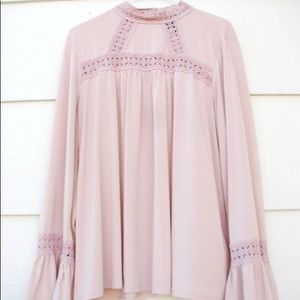 Worthington Long Bell Sleeve Top Blouse Lace Trim